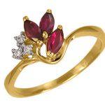 Кольцо с рубинами и цирконами