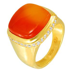 Кольцо с сердоликом и бриллиантами