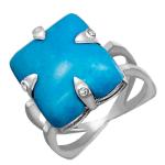 Кольцо с бирюзой и бриллиантами