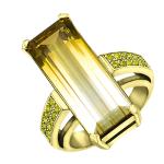 Кольцо с цитрином и бриллиантами