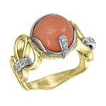 Кольцо с бриллиантами и кораллом