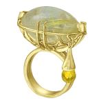 Кольцо с кварцем-волосатиком и цитрином