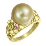 Кольцо с жемчугом и цветными сапфирами