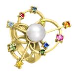 Кольцо с жемчужиной и цветными сапфирами