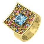 Кольцо с цветными сапфирами и голубым топазом