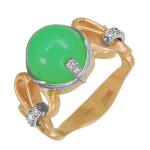 Кольцо с хризопразом и бриллиантами