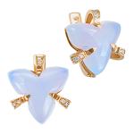 Серьги с бриллиантами и голубым халцедоном