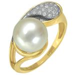 Кольцо с бриллиантами и жемчужиной