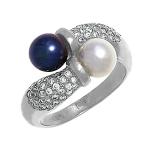 Кольцо с бриллиантами и жемчужинами