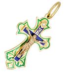 Православный крест с бриллиантом и эмалью