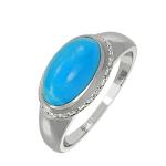 Кольцо с бриллиантами и бирюзой