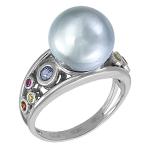 Кольцо с цветными сапфирами и жемчужиной