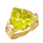 Кольцо с цитрином и цветными сапфирами
