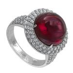 Кольцо с бриллиантами и гранат-родолитом