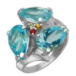 Кольцо с голубыми топазами и цветными сапфирами