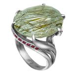 Кольцо с цветными сапфирами и кварцем-волосатиком