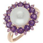 Кольцо с белой жемчужиной, аметистами и цветными сапфирами