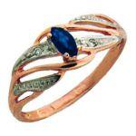 Кольцо с рубином и цирконами